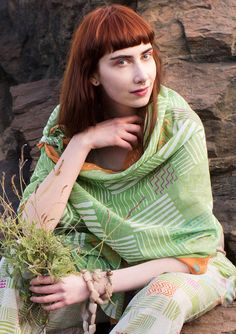 """""""Indigo"""" eco-cotton shawl – Accessories – GUDRUN SJÖDÉN – Webshop, mail order and boutiques 