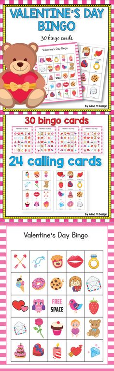 Valentines Day Bingo Game February Bingo  Printable for kids. Your students will have so much fun at school parties with these holiday activities. This set includes 30 bingo bingo cards and 24 calling cards featuring love, heart, candy, sweets and other valentine's day elements #valentinesday #bingo #activities #kindergarten #fun #cards #classroom #ideas
