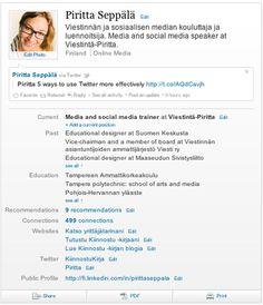 Tässä artikkelissa esitellään lyhyesti LinkedIniä, joka on yksi Suomessakin pisimpään käytetyistä sosiaalisen median palveluista. LinkedInissä on kyse ammattiin, osaamiseen ja työhön liittyvästä verkostoitumisesta. Tässä artikkelissa perehdytään erityisesti siihen, millainen on toimiva henkilökohtainen LinkedIn-profiili.