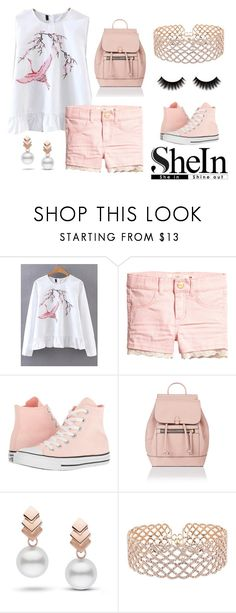 """😘Lacey Pink😘"" by bananabeljoy21 ❤ liked on Polyvore featuring WithChic, Converse, Accessorize, Escalier, Pink, lace, pearls and shein"