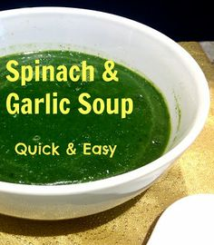 This gluten free vegan spinach soup is easy easy easy and healthy healthy healthy - also only 1 point plus on weight watchers Gluten Free Soup, Paleo Soup, Vegan Spinach Soup, Weight Watchers Menu, Veggie Heaven, Garlic Soup, Green Soup, Dairy Free Eggs, Appetizer Salads