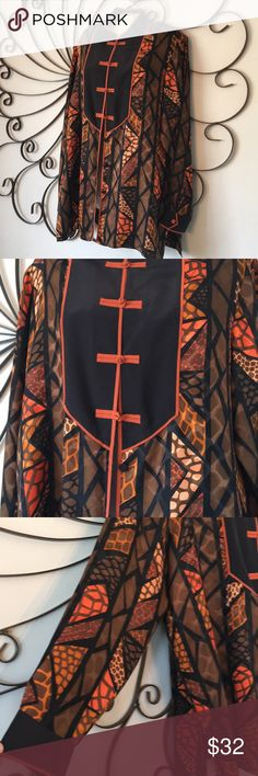 "Bob Mackie wearable art Asian inspired top 100% silk. Beautiful condition! Blouse does have shoulder pads that are easily removed. Shoulder to shoulder 17"" pit to pit 23"" length 30"". Bob Mackie Tops Blouses"