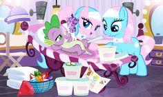 #876892 - aloe, artist:pixelkitties, bedroom eyes, gem, lotus blossom, mirror, pampering, safe, shipping, spa twins, spike, spike gets all the mares, spikelove, sploe, splotus, straight, towel - Derpibooru - My Little Pony: Friendship is Magic Imageboard