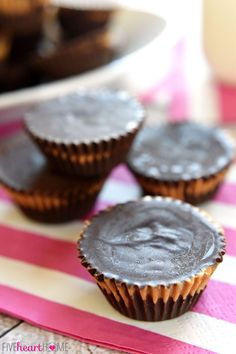 Homemade Peanut Butter Cups ~ these easy, all-natural peanut butter cups whip up with just three ingredients!   FiveHeartHome.com
