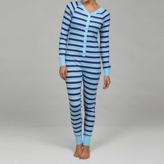 @Overstock - Head to bed in comfort with this fun Sweet Union City snap-up union suit. This pajama suit features a blue and white striped pattern and a backflap.http://www.overstock.com/Clothing-Shoes/Sweet-Womens-Union-City-Striped-Snap-up-Union-Suit-with-Backflap/6220780/product.html?CID=214117 $19.99