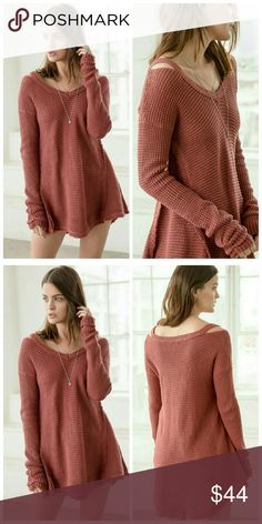 Coming Soon Rust Knit Sweater Top 100% Cotton   Knit Sweater Top Sweaters