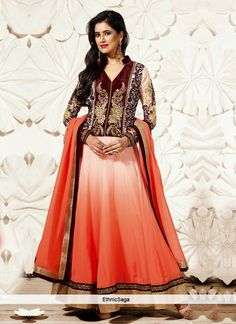 maroon and peach anarkali suit partywear anarkali suits 20