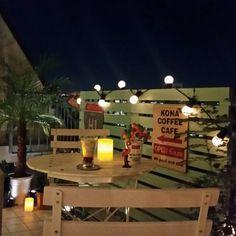 naoさんの、ベランダ,アメリカン,フェニックスロベレニー,ハワイアン雑貨,ベランダカフェ,木製看板,アメリカン雑貨,机,アメリカンポップ,のお部屋写真