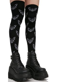 Killstar Night Creature Long Socks cuz ya crawl around in places where the light cannot illuminate… These sikk over-the-knee socks feature an ultra cozy black knit construction and screechin' bat graphics all over.
