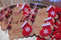 Handmade Christmas Gift Tags   Set of 12 Handmade/Handstamped Stocking Christmas Gift Tags