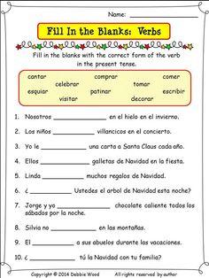 Spanish Christmas  Winter Verbs 6 Printables and 24 Conversation
