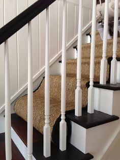 My House: Staircase Before & After — CAROL REED INTERIOR DESIGN Black Staircase, Staircase Runner, House Staircase, Staircase Remodel, Staircase Makeover, Staircase Railings, Staircases, Farmhouse Stairs, Farmhouse Remodel