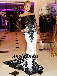Cheap gown set, Buy Quality gowns and dresses directly from China dress sofa Suppliers: 	Product Details	Vestidos de Noche Formal Long Evening Gowns Black White Lace Prom Dresses Long Sleeve Evening Dress Mer