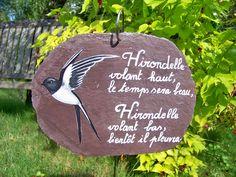 Décoration de jardin-ardoise naturelle brute peinte à la main - thème proverbes citations et poèmes*sur commande*
