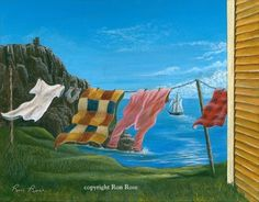 """On the Line"" by Ron Rose Hanging Quilts, Shed Colours, Rug Hooking Patterns, Newfoundland And Labrador, Craft Night, Canvas Art, Canvas Paintings, Clothes Lines, Painted Rocks"