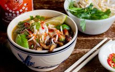 In this vegan pho, beef is replaced with mushrooms to create a a beautiful, fragrant, and filling dish.