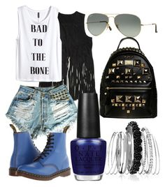 """Untitled #12"" by kellysiahalim on Polyvore featuring BLANKNYC, H&M, Dr. Martens, Ray-Ban, OPI and Avenue"