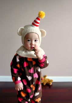 Clown Bear coverall Hat. 12-24months by NYrika on Etsy