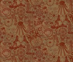 Rustic Antiqued Mystic Occult fabric by xoxotique on Spoonflower - custom fabric