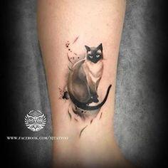 Siamese Cat Tattoos, Cat Face Tattoos, Twin Tattoos, Black Cat Tattoos, Tattoo Gato, Kitten Tattoo, Cute Cat Tattoo, Siamese Cats For Sale, Cat Outline Tattoo