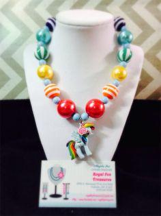 Rainbow Dash My Little Pony Chunky Necklace on Etsy, $17.50