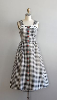 1950s dress / gingham 50s dress / Picnic Gingham dress