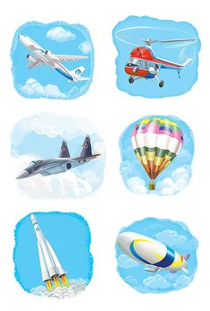 Сообщество иллюстраторов | Иллюстрация Любомир Бейгер - воздушный транспорт. Детский. Растровая (цифровая) графика