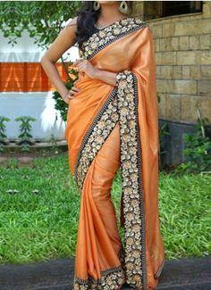Orange And Black papper Silk Sequence Designer Saree #Designer #Saree #anarkali #SalwarSuits #Kurtis #Gown #LehengaCholi #jewellery #UttamVastra #EthnicWear #price #onlineshopping #indianwear #buyonline #instagram #fashionjewellery #trendydress #Silk #Embroidery