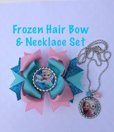 b07da84496f583 Frozen Hair Bow and Frozen Necklace Set. Elsa hair bow. Bottle cap necklace  on