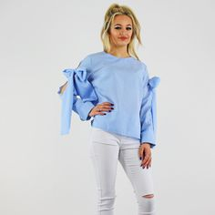 Blue & White Gingham Check Round Neck Large Bow Long Sleeve Top