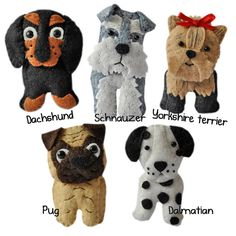 This PDF file is to make five cute dogs as shown in the main photo. You will receive PDF files with illustrated instructions and patterns needed to make your own cute companions. There are five patterns in this set. Set three includes - Pug, Schnauzer, Dalmatian, Dachshund, Yorkshire terrier  The dogs measure between 60mm - 80mm in height (depending on the dog)  You can make items from my patterns to sell :) providing they are not mass produced and credit is given if selling online.  Let…