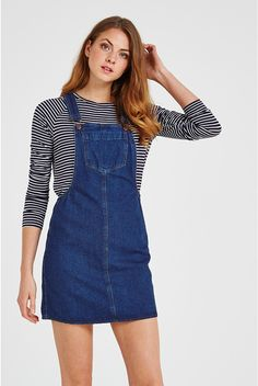 Shop the latest fashions online. With new clothes and accessories in every day you can complete your whole wardrobe right here! Preppy Outfits, New Outfits, Cool Outfits, Denim Dungaree Dress, Dungarees, Overall Dress, Overall Shorts, Cute Woman, Fashion Online