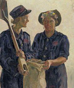 Sandbag Filling, Islington Borough Council Ethel Leontine Gabain (1883–1950) Imperial War Museum London