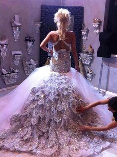 Peacock wedding dress. Stunning!!!! SO MY DRESS