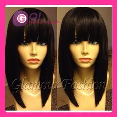 GQ New Arrival Style! Bob Glueless Full Lace Wig Brazilian Virgin Human Hair Bob Wigs lace front wig with bangs silky straight