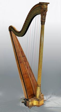J. A. STUMPFF DOUBLE PEDAL HARP - JA Stumpff co-inventor of the double pedal harp in about 1813 working in London produced this earliest form of the double pedel harp. The harp dates between that earliest date of about 1813 and no later than 1824 when Stumpff died. A unique piece of musical history. The harp measures 60 3/4 inches tall, 34 inches wide and 17 1/2 inches deep. - http://eliteauction.com/catalogues/092510/view.php?id=95