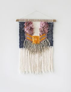 Yellow Pink Stripes Weaving Woven Wall Hanging | Hello Hydrangea