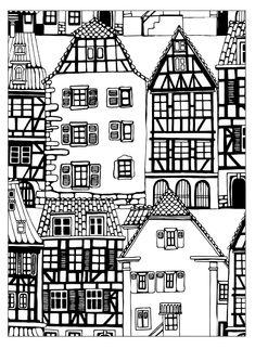 coloriage-maisons-style-alsace, Dans la galerie : Architecture Habitation