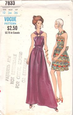 Vogue  7833 1970s  Misses A Line Cocktail Dress by mbchills