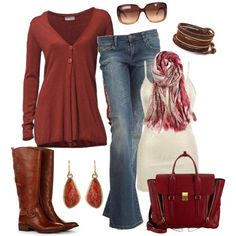 """Casual Autumn Reds"" by smores1165 on Polyvore"