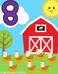 Educational Activities For Kids, English Activities, Learning Numbers, Math Numbers, Farm Animal Crafts, Farm Animals, Classroom Calendar, Classroom Decor, Baby Learning