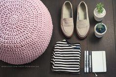 Crochet Ottoman - Footstool - Floor Pouf - Round Pouf - Floor Cushion - Nursery stool - Bean Bag - Baby Shower Gift