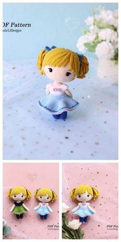 Crochet Dolls Free Patterns, Crochet Doll Pattern, Amigurumi Patterns, Doll Patterns, Kawaii Crochet, Cute Crochet, Crochet Toys, Diy Sewing Projects, Crochet Projects