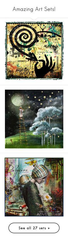 """Amazing Art Sets!"" by girlinthebigbox ❤ liked on Polyvore featuring art, stars, fourseasons, whimsy, Vivaldi, birthday, lastchance, Christmas, artset and artwork"