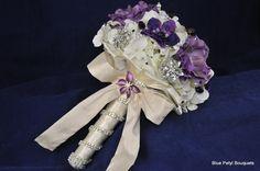 Anemone Bouquet with White Handle #BroochBouquet #WeddingBouquet