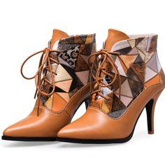 Botas de couro para Mulheres Botas Curtas Tornozelo Dedo Apontado Impresso Marca Designer Feminino Sexy de Salto Alto Lace-up vestido de Noite bombas de Sapatos