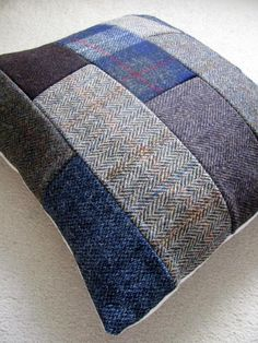 Patchwork Tweed DIY Throw Pillows | Use up scrap fabric by making a patchwork DIY throw pillow cover for your living space.