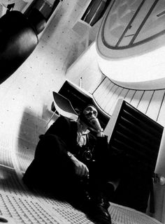 "Stanley Kubrick on the set of ""2001: A Space Odyssey"""