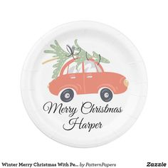 Winter Merry Christmas With Personalized Name Paper Plate Christmas Paper Plates, Snow Light, Love Phrases, White Elephant, Plaid Pattern, Xmas Gifts, Retro Vintage, Merry Christmas, Decorative Plates