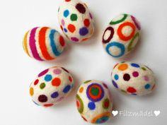 Ostereier - Ostereier Filz 6 Stück - ein Designerstück von filzmaedel bei DaWanda